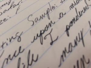 Close-up Take-sumi cursive writing sample